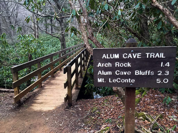 Fun things to do in Asheville NC : Sign for Mt LeConte and Alum Cave in Smoky Mtns Park, TN.