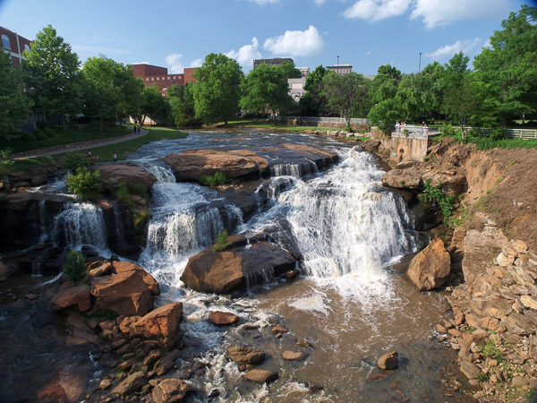 Falls on Reedy River in Downtown Greenville SC.