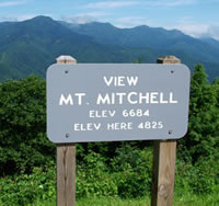 Picture of the Marker for Mt. Mitchell on Blue Ridge Parkway, NC.